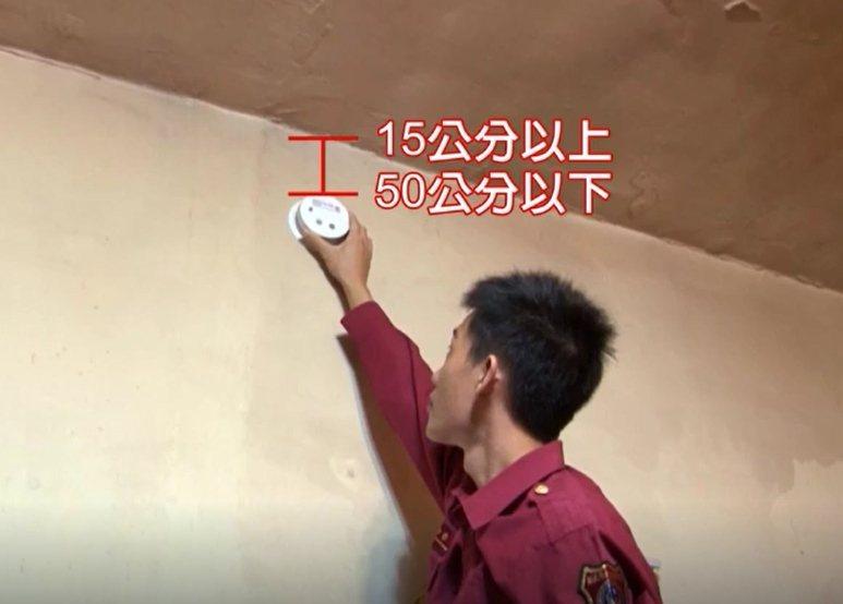 安裝在牆面,則應距離天花板或樓板15公分以上,50公分以下。記者陳雕文/翻攝