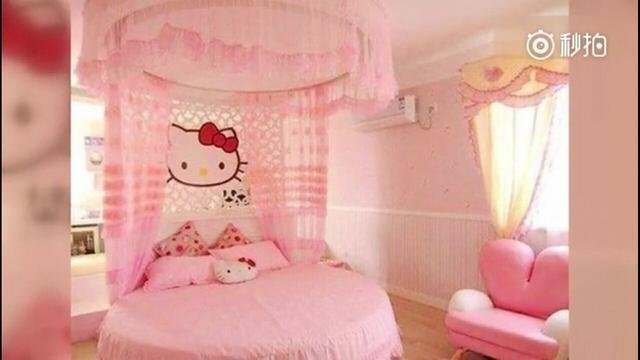 林心如曾在微博曝光女兒粉紅色的房間。圖/摘自微博