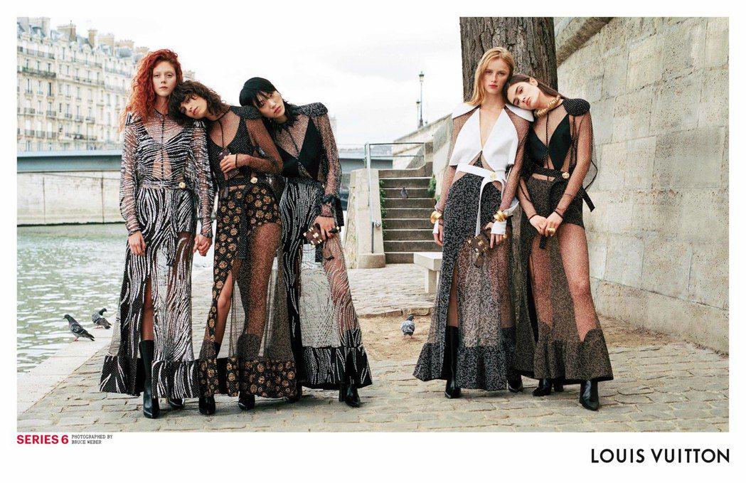 LV春夏形象廣告中,各款魚子醬蕾絲洋裝競豔。圖/LV提供