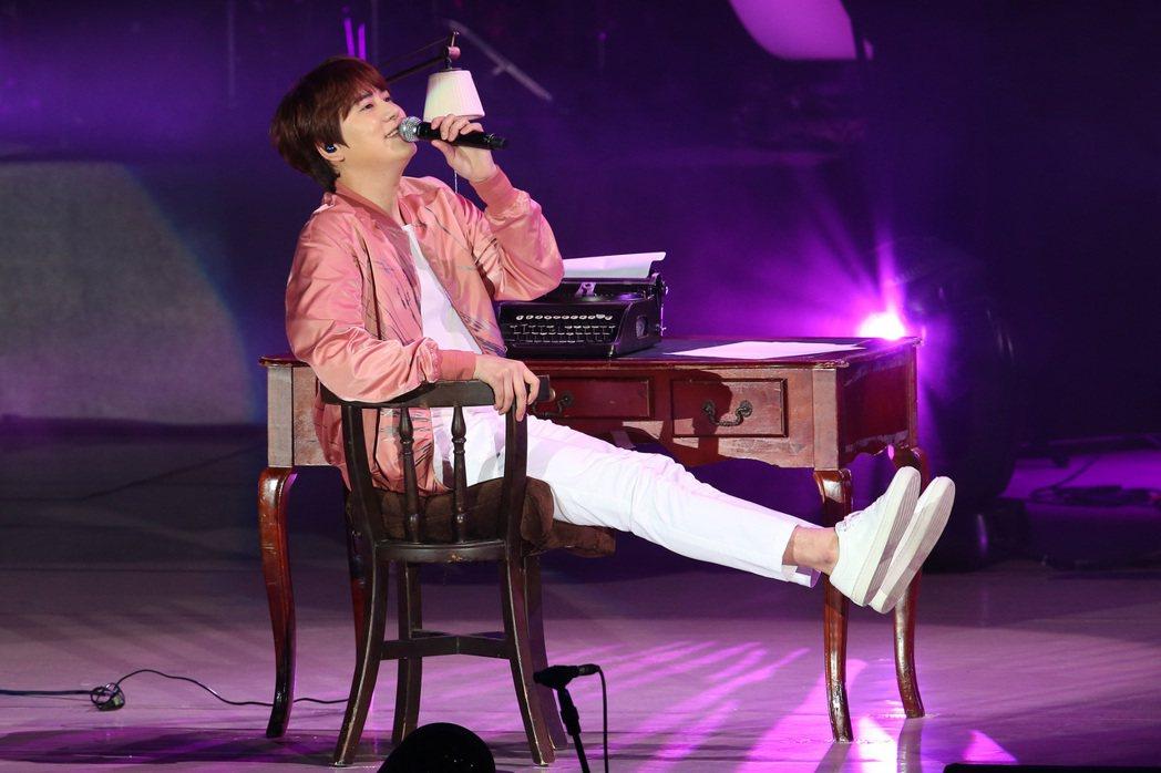 南韓天團「SUPER JUNIOR」主唱圭賢首度在台開唱。記者王騰毅/攝影