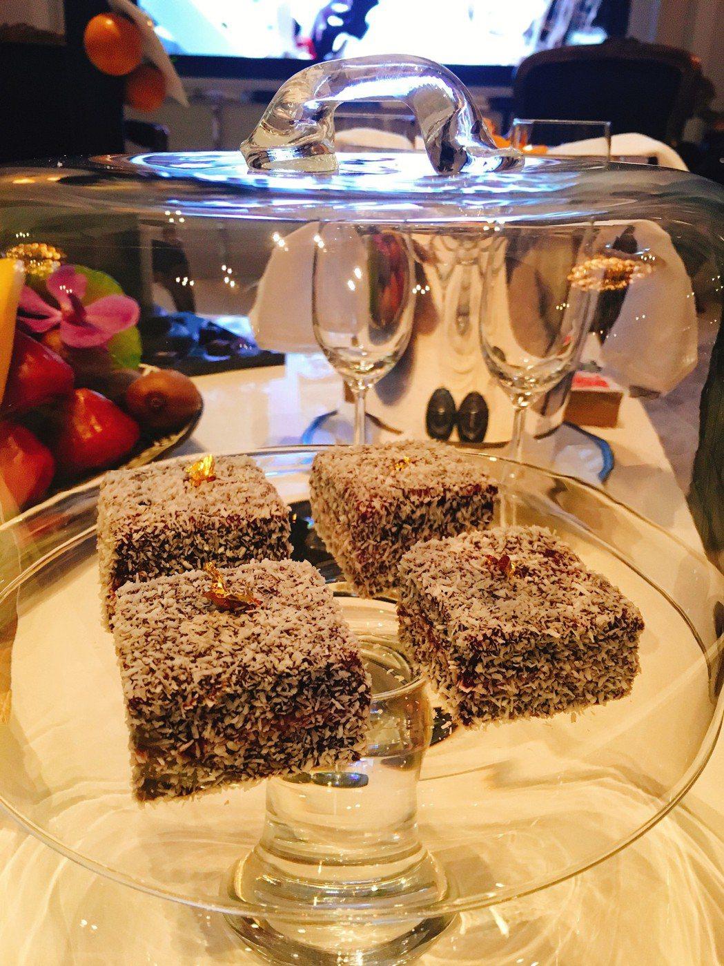 休傑克曼總統套房Lamington  Australian cakes。圖/台北...