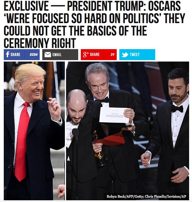 川普接受美國極右派媒體Breitbart News訪問時,評論奧斯卡頒錯獎烏龍事