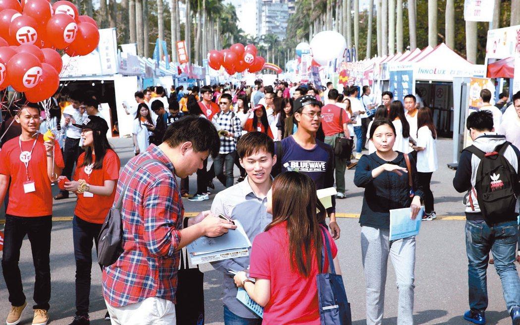 圖為台大舉辦就業博覽會。 本報資料照片