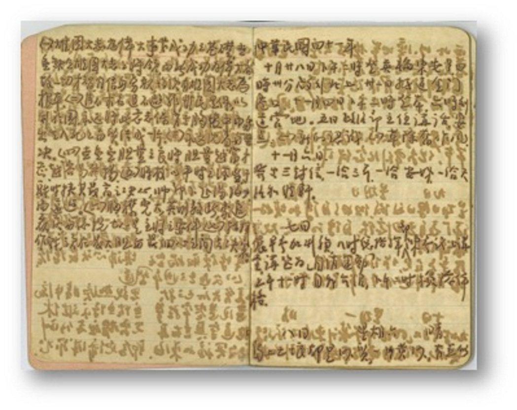 淡江資傳系學生聯手整理李子斌留下的18本日記,圖為重整過的日記副本。 圖/「老先...