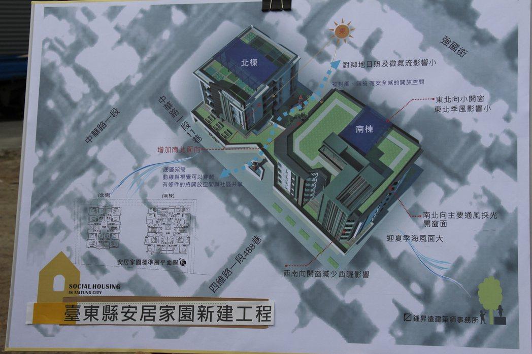 台東縣政府社會住宅設計為兩棟43戶,33戶為兩房、10戶為三房。記者李蕙君/攝影