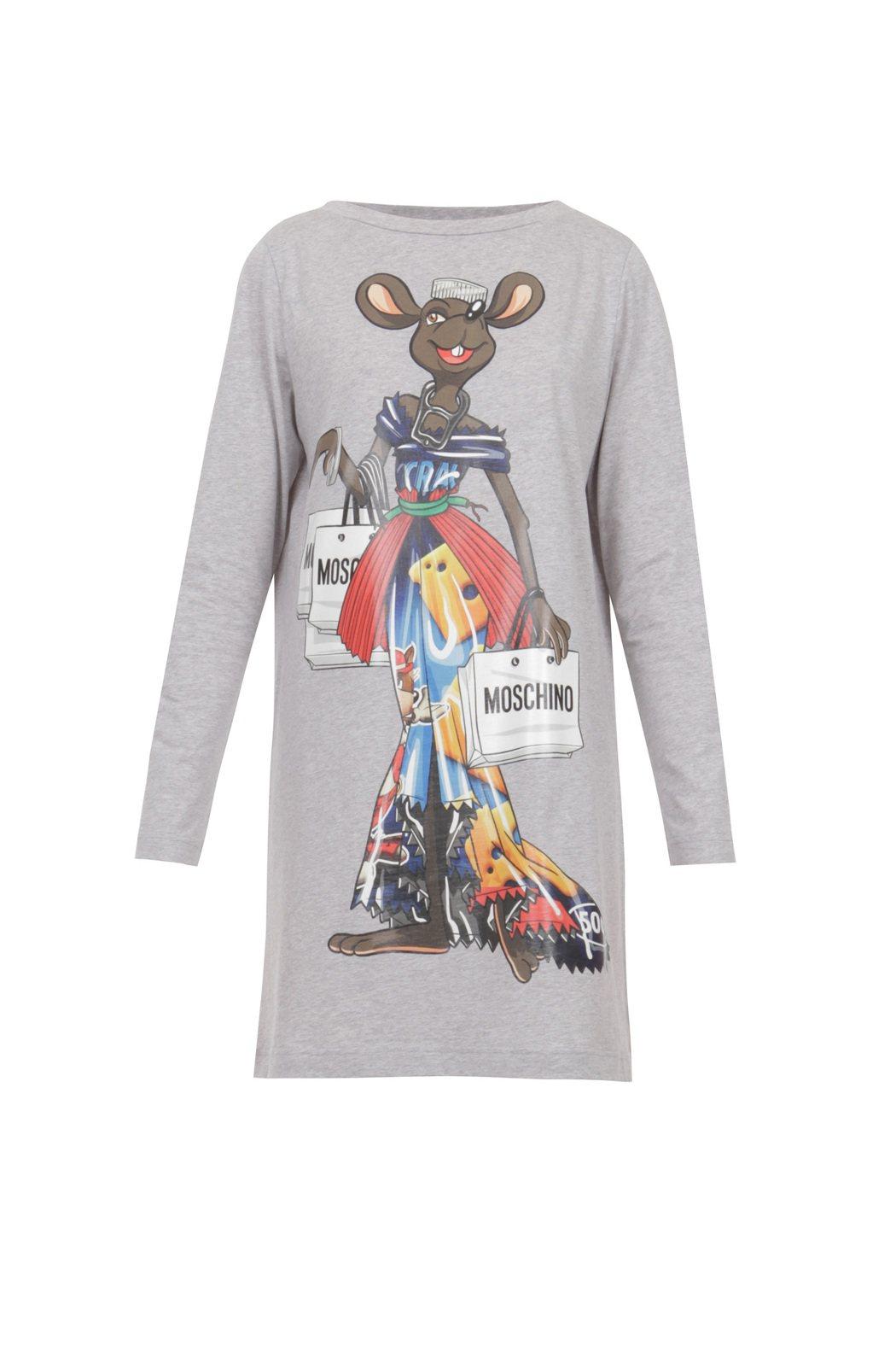 老鼠印花洋裝,10,800元。圖/MOSCHINO提供