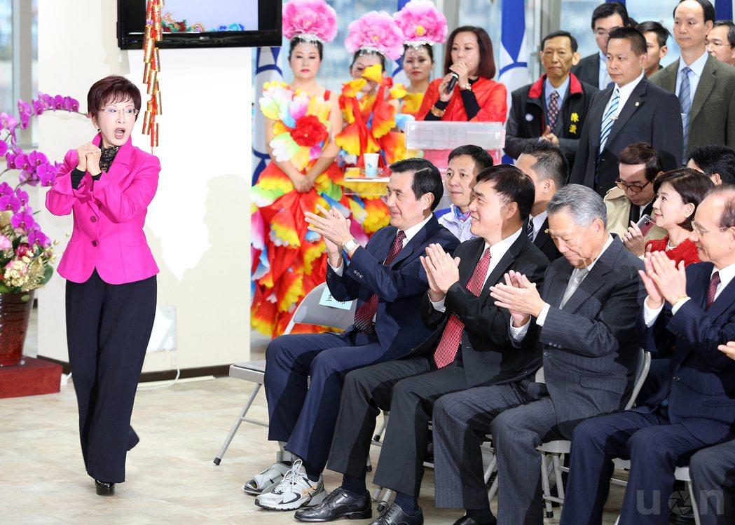 國民黨新春團拜,前主席馬英九(左二)、主席洪秀柱(左一)、郝龍斌(左三)、詹啟賢...