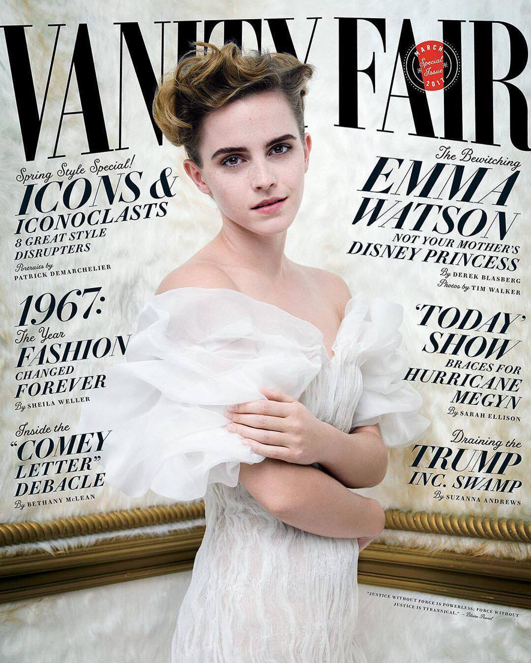 艾瑪華森登上「浮華世界」雜誌封面。圖/摘自Vanity Fair Instagr