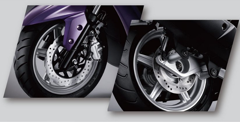 CYGNUS-X前浪花碟煞+後碟煞,提供出色制動力和安全性。 YAMAHA提供