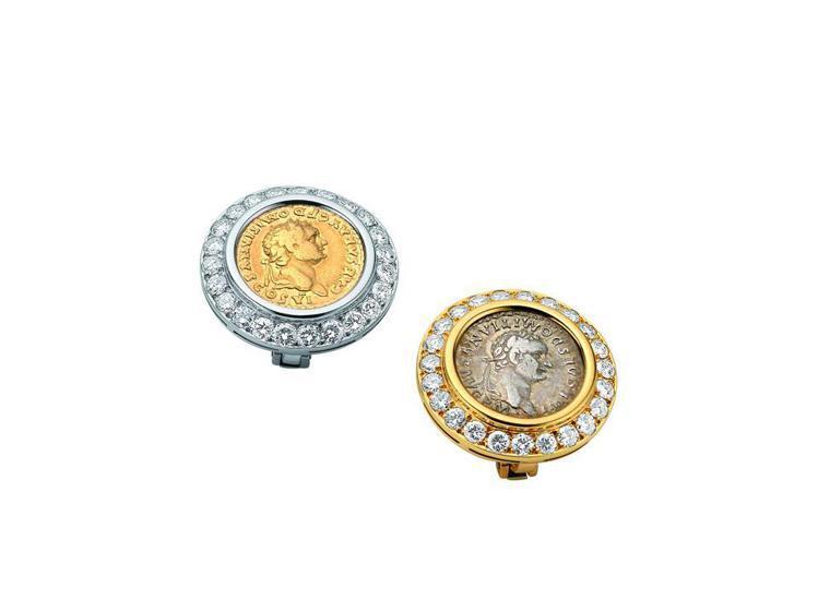 Heritage典藏骨董系列黃K金古幣鑲鑽骨董耳環,創作時間約1978年。圖/B...