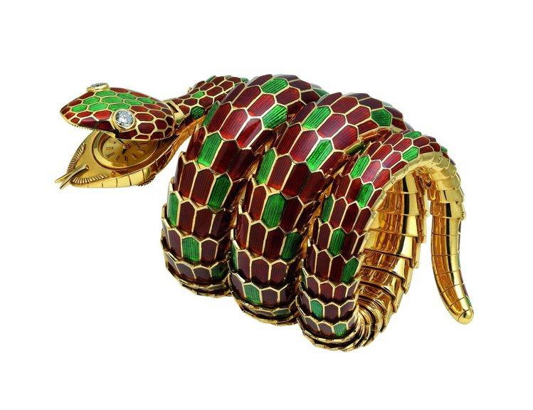 Heritage典藏骨董系列彩色寶石骨董手鍊腕表,創作時間約1965年。圖/BV...