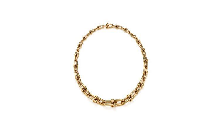 Tiffany HardWear鍊結設計18K金項鍊。圖/Tiffany提供