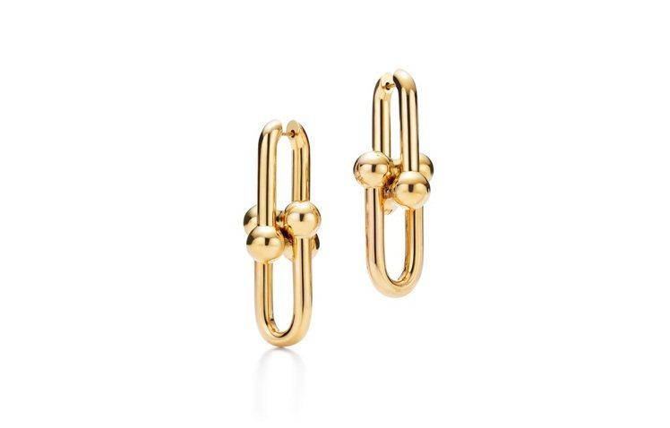 Tiffany HardWear鍊結設計18K金耳環。圖/Tiffany提供