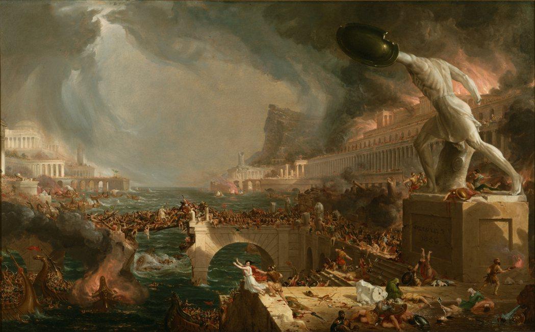 異族的移入或入侵,一直是困擾羅馬帝國的最大問題。圖為19世紀美國畫家托馬斯.柯爾...