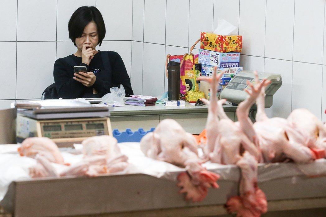禽流感市場家禽買氣弱,部分攤商生意受到影響,只好玩手機打發時間。記者黃仲裕/攝影