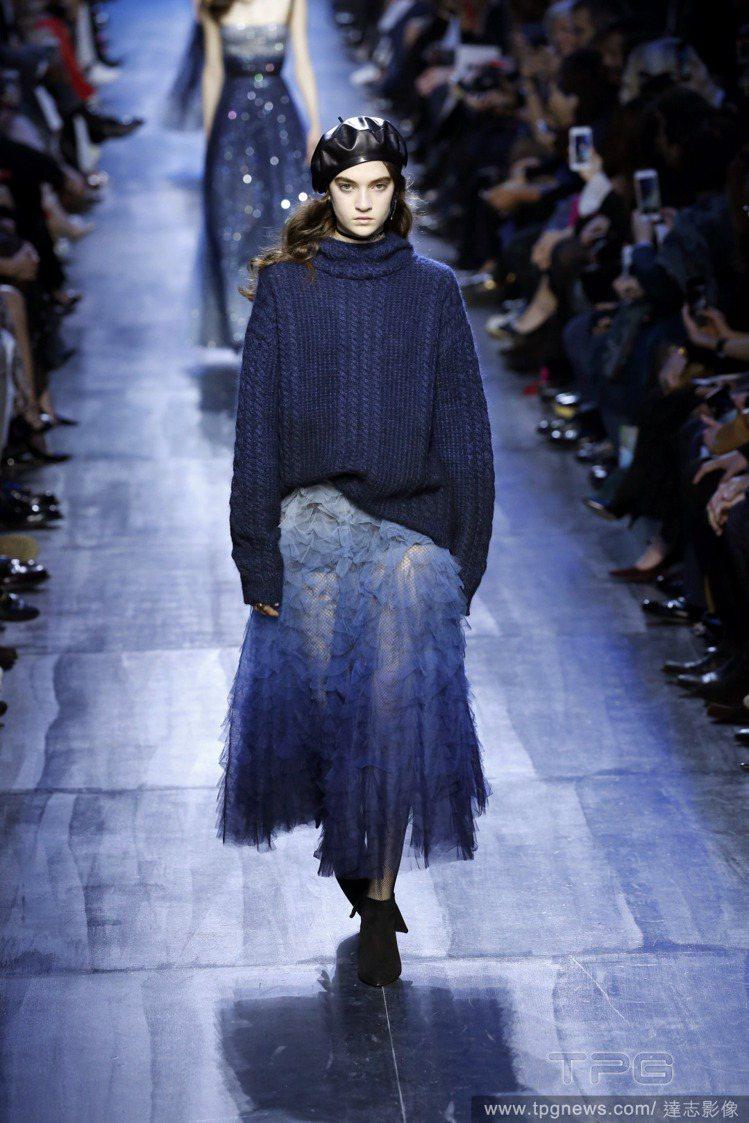 Dior秋冬系列女裝「藍」得出色。圖/達志影像