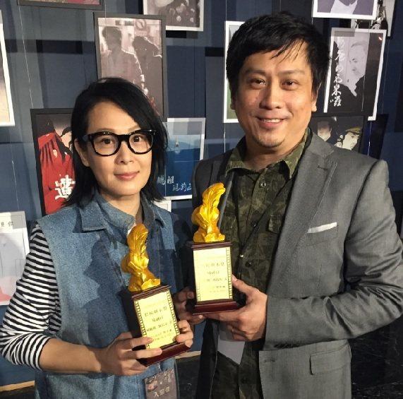 藝人劉若英與編劇何昕明以劇本「易副官」昨晚奪特優劇本獎。微觀娛樂提供