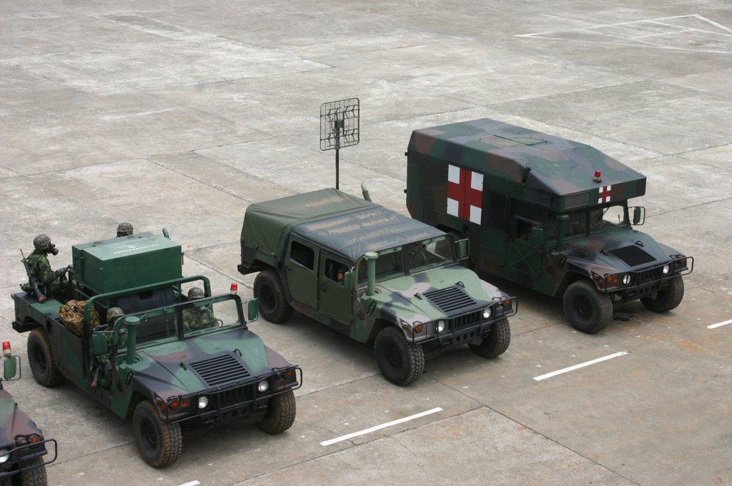 國軍已引進大批悍馬車,衍生各種用途與車型。記者洪哲政/攝影