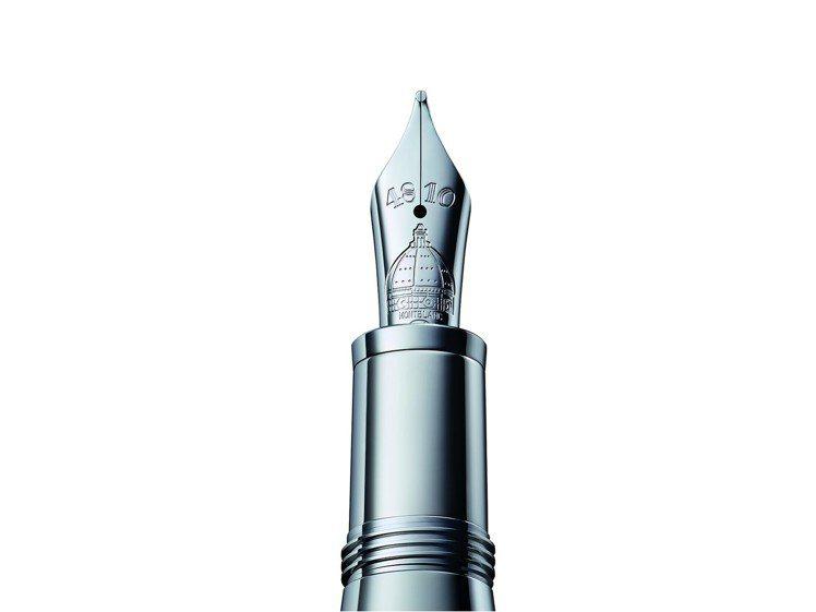 鋼筆尖鐫刻特有的萬寶龍「4810」字樣,並飾以聖母百花大教堂的獨特圓頂輪廓。圖/...