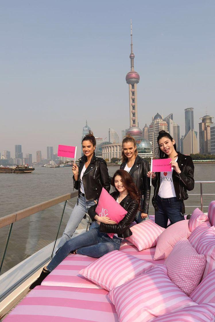 四位超模搭上郵輪為中國拓點造勢。圖/Victoria's Secret提供