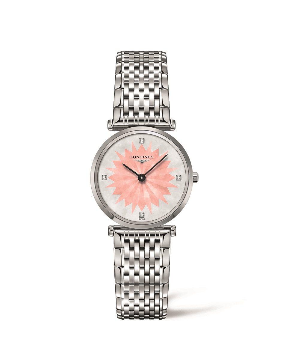 浪琴表新嘉嵐系列玫瑰粉星辰飾紋點鑽時標腕表,51,200元。圖/Longines...