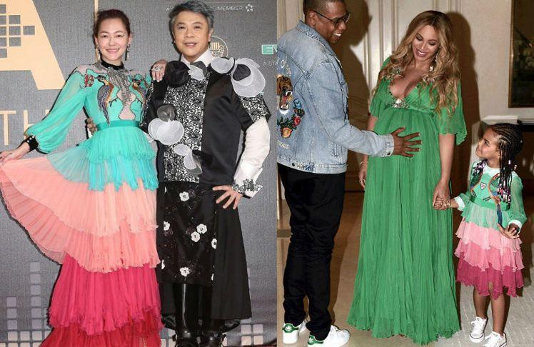 Blue Ivy(右1)在「美女與野獸」首映穿的小鳥刺繡雪紡紗小禮服是Gucci...