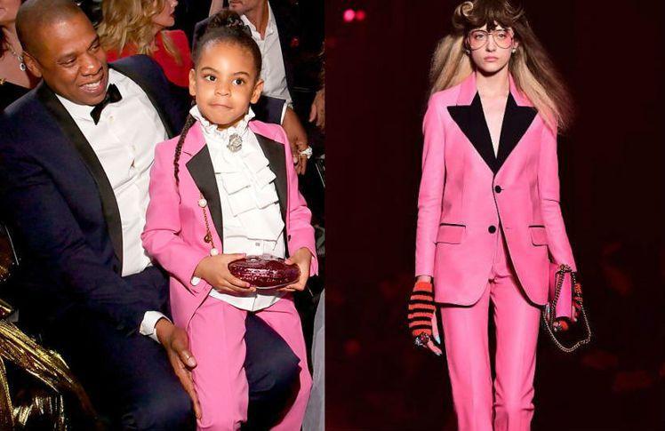 Blue Ivy穿Gucci粉紅西裝和老爸Jay Z參加活動。圖/摘自Us We...