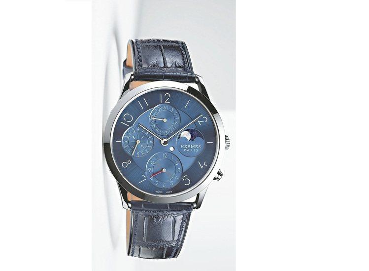 愛馬仕Slim d'Hermès萬年曆腕表,39.5mm鉑金表殼,自動上鍊機芯,...