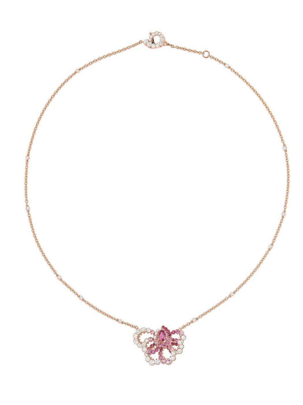 全台獨家Archi Dior粉紅剛玉鑽石項鍊,售價1,370,000元。圖/Di...