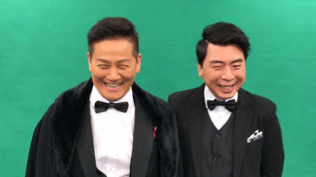 徐乃麟(左)進棚和梁赫群為新節目拍宣傳照。記者葉君遠/攝影