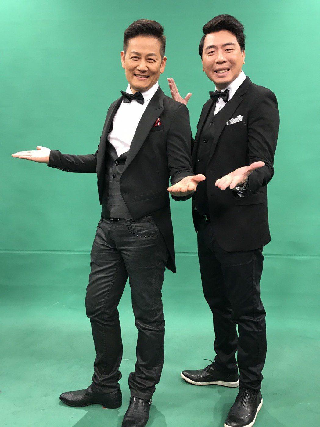 徐乃麟(左)和梁赫群一起搭檔節目,當初梁只是徐的節目製作人,如今終於合作。記者葉...