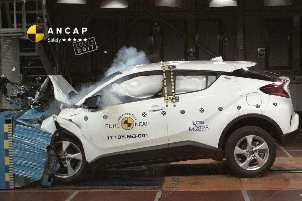 C-HR在近日的ANCAP撞擊測試中獲得了5顆星的成績。 圖/截自ANCAP