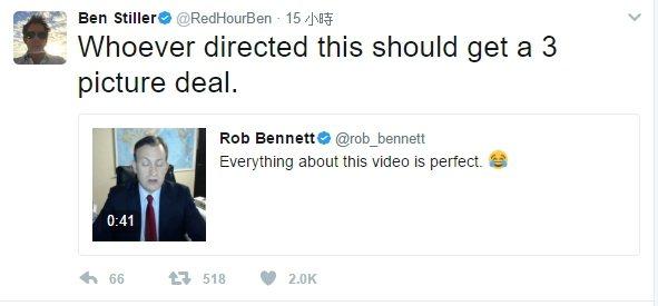 班史提勒也對這支幽默的影片狂讚。圖/摘自推特