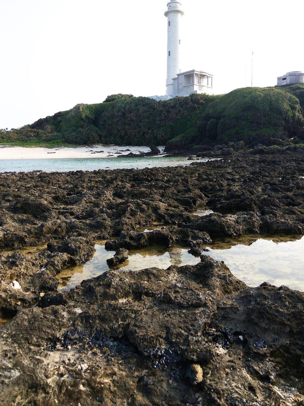 受到重油汙染,知名景點綠島燈塔附近大片礁岩都被汙油染黑。 圖/侯政廉提供