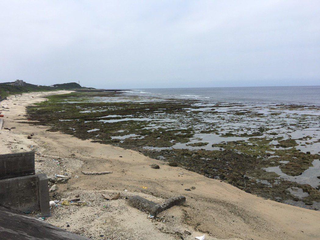 綠島除油汙第3天在中寮漁港到柴口約680公尺的沙灘發現浪打上岸的小焦油球散佈,緊...