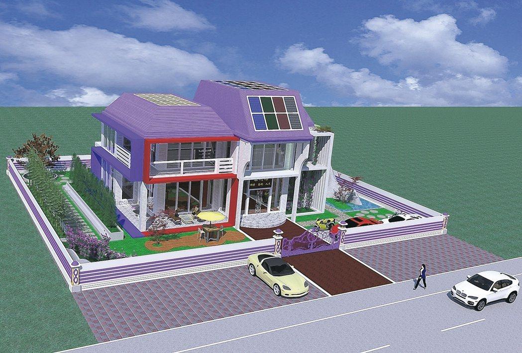 盧鴻智博士的太陽能藝術綠建築作品「520」,5種顏色的太陽能帷幕玻璃,將裝置藝術...