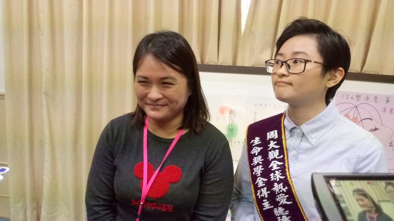 毛秀玲的母親魏慧敏說,最擔心孩子長大後,能否有正常的工作。記者卜敏正/攝影