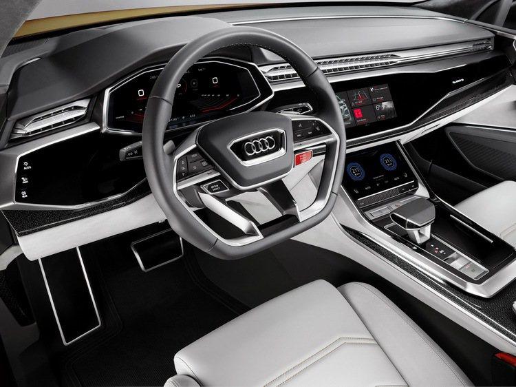 AUDI AG在全新Q8概念車上同步展演最新一代的虛擬式座艙設計,整合最新的觸控科技與車艙旋鈕簡潔化,將直覺化操作與便利性完美體現。 圖/台灣奧迪提供