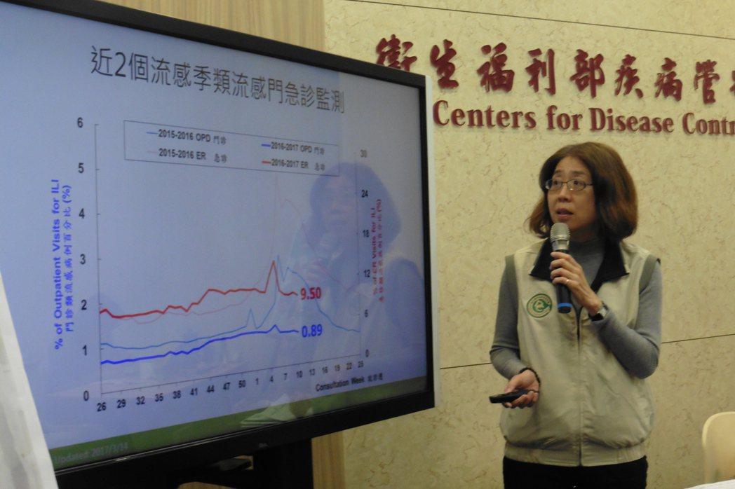 疾管署疫情中心主任劉定萍說明上周腹瀉疫情概況。記者黃安琪/攝影