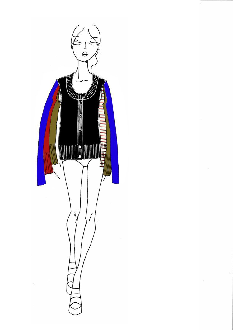 Rykiel For Ever多袖開襟衫設計手稿。圖/CLUB DESIGNER...