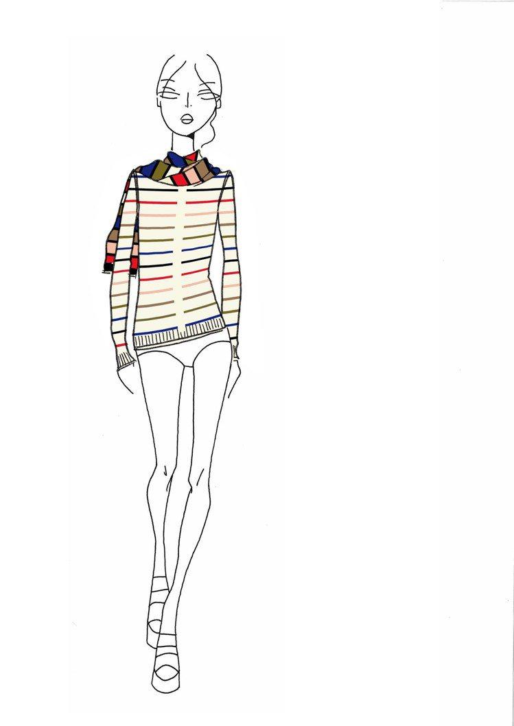 Rykiel For Ever彩色條紋針織衫設計手稿。圖/CLUB DESIGN...