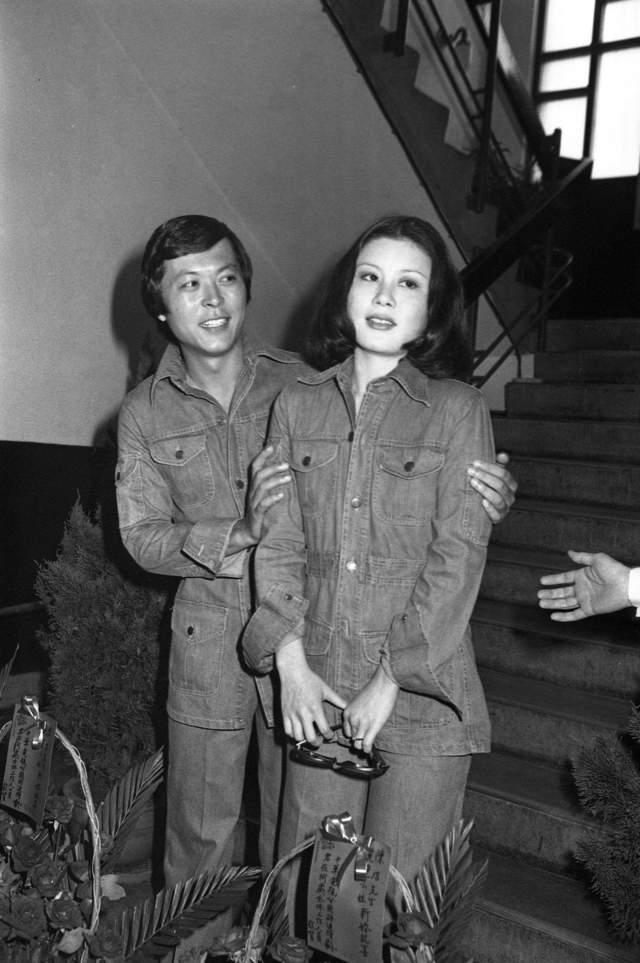陳麗麗1975年與香港影星陳浩在台北地方法院公證處完成婚禮。圖/本報資料照