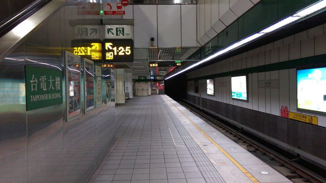 台北捷運松山信義線台電大樓站月台尚未加裝月台門。 圖/台北捷運公司提供
