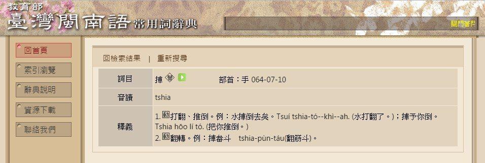圖片來源/臺灣閩南語常用詞辭典