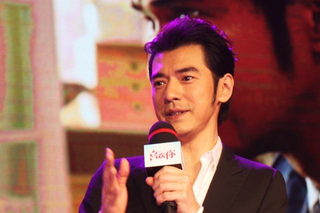 男神金城武(圖)與金馬獎新科影后周冬雨主演新片「喜歡你」,在北京舉行記者會。