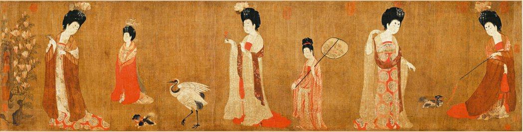 周昉〈簪花仕女圖〉。 圖/現藏於遼寧博物館。圖片提供/蔣勳