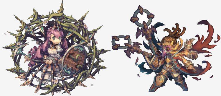 5★木屬衛士─禁錮夢牢‧詩碧茉嘉(左)、5★火屬法師─鴉魔者•羅諾岡德(右)。 ...