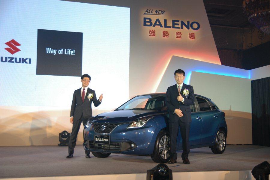 TAIWAN SUZUKI 金鈴汽車董事長鈴木忠臣(Tadaomi Suzuki)與副總經理高橋 淳親臨現場進行 Suzuki Baleno 的上市發表。 記者林鼎智/攝影