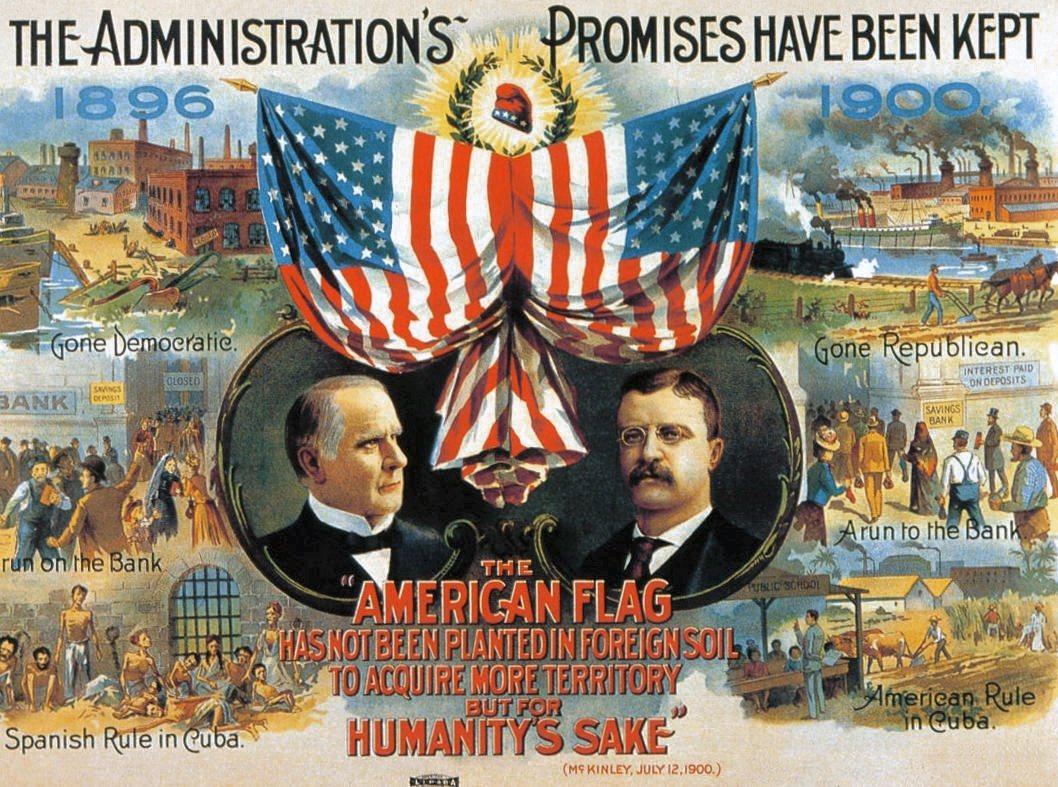 1900年美國共和黨競選海報,左為總統麥金利、右為副總統老羅斯福。麥金利任內開啟...