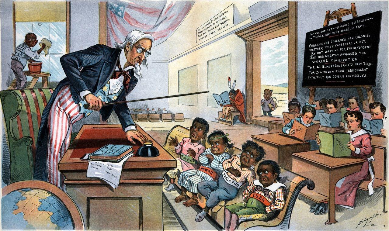不僅要佔領菲律賓,更要替往後殖民鋪路。這幅成於1899年的「School Beg...